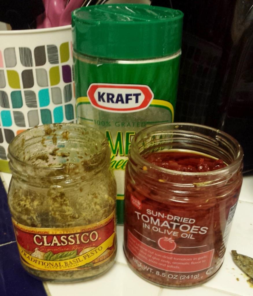 Pesto & sundried tomatoes ready to go