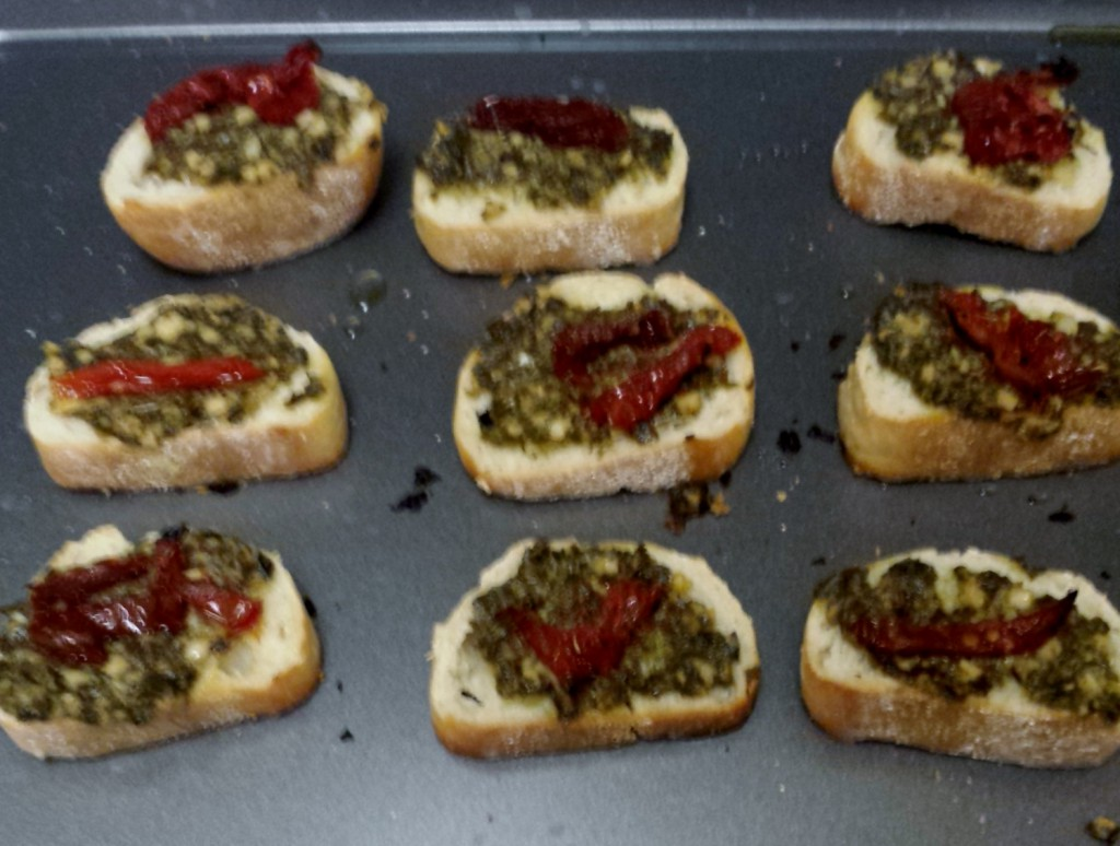 Bruschetta after being toasted in the oven!