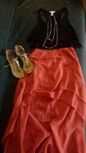Fun with proportions. Sandals from Forever 21, gold jem chain necklace from Target