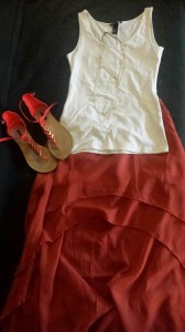 Punch it up with bright orange suede shoes from Forever 21 and a gold jem chain necklace from Target