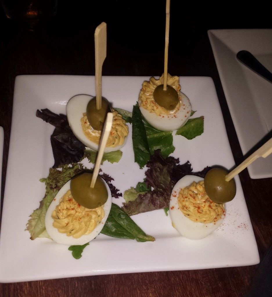 Deviled eggs with vodka and vermouth