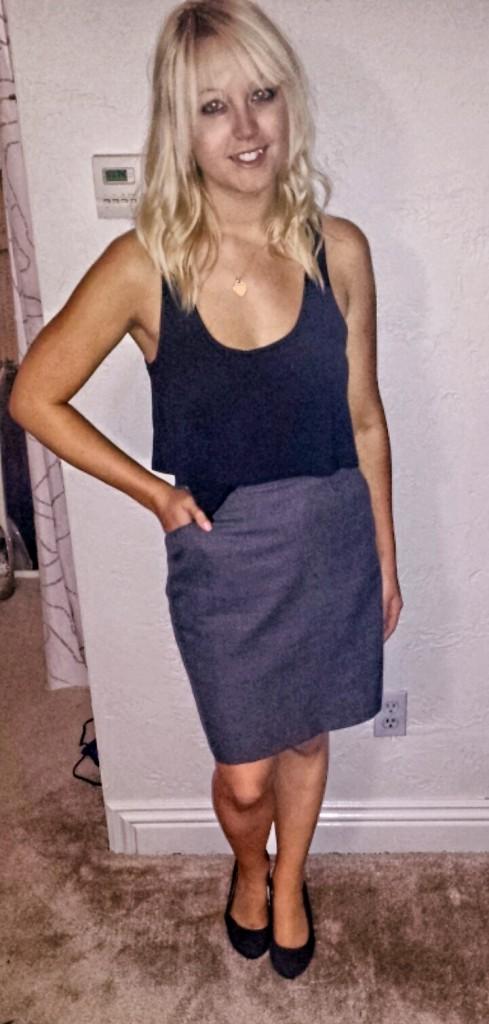 Gray pencil skirt, black crop top, black heels