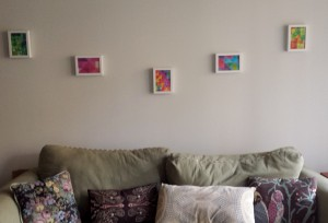 Funky colorful geometric art in the living room