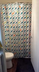 Funky geometric shower curtain