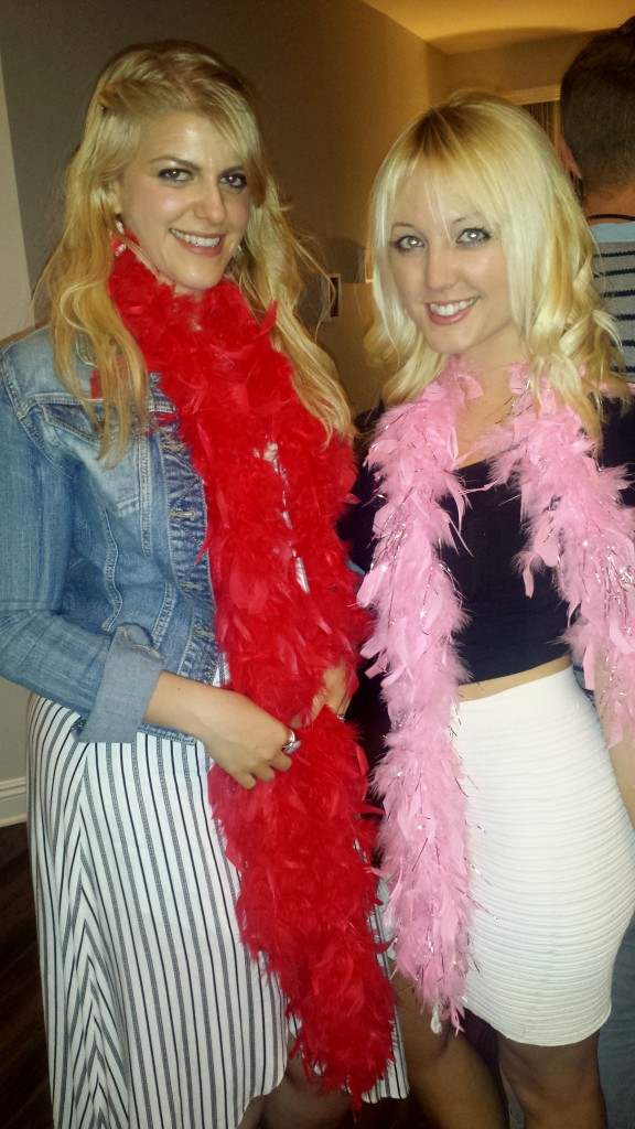 The best way to accessorize this outfit is with a pink and silver feather boa