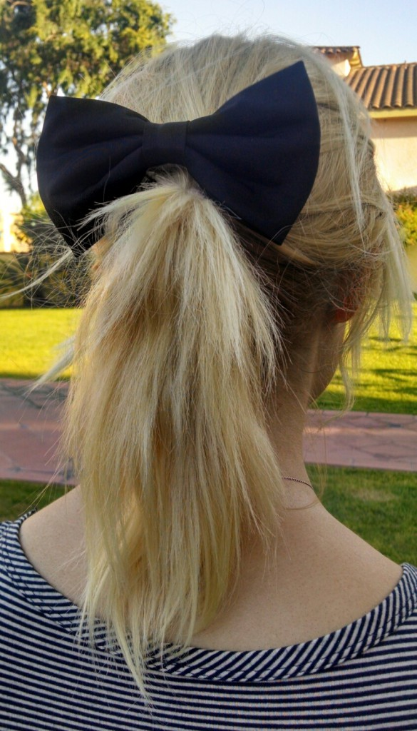 Black Bow and Ponytail Back View