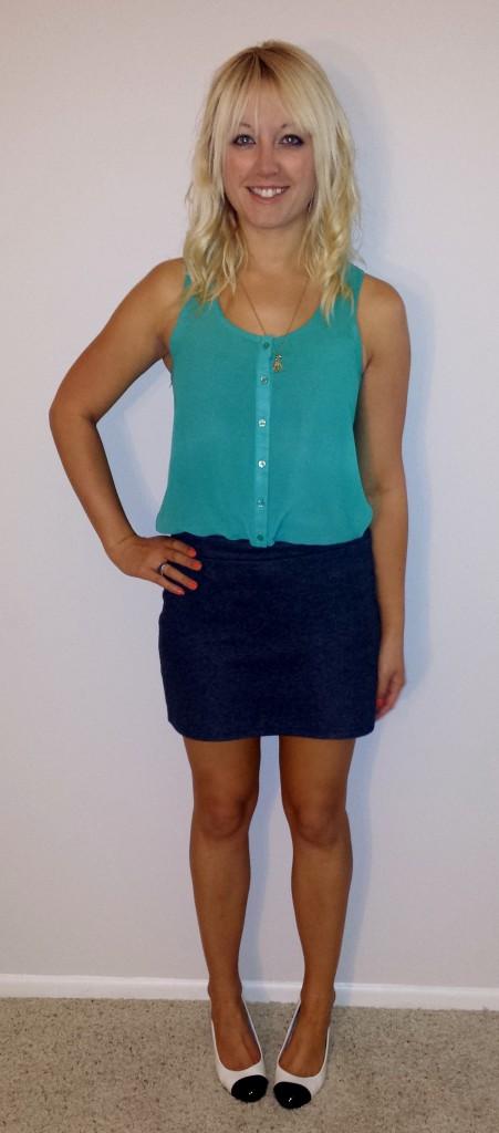 Green buttondown tank, gray skirt 1