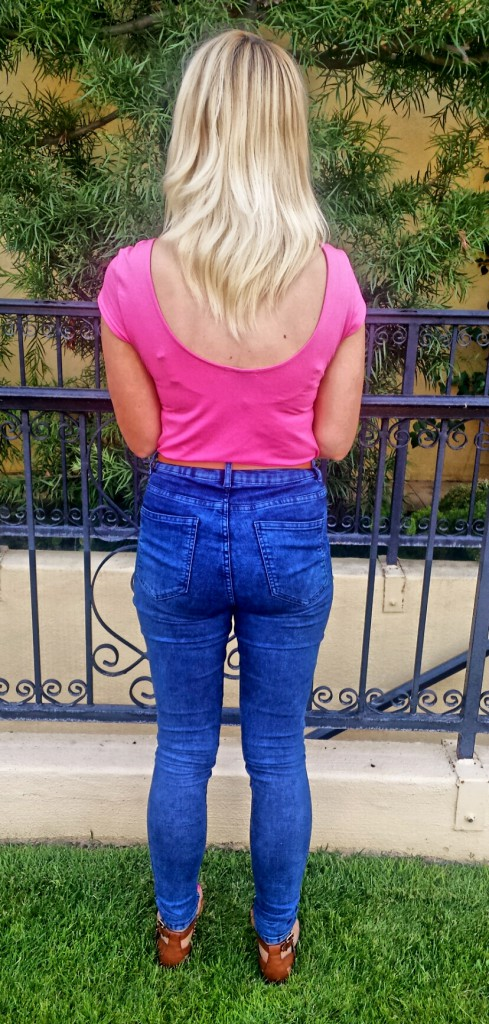 Fun with proportions - high jeans, low scooped-back shirt (from H&M)