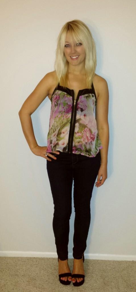 Rose top, jeans, black wedges 1
