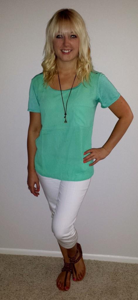 green shirt white capris 2