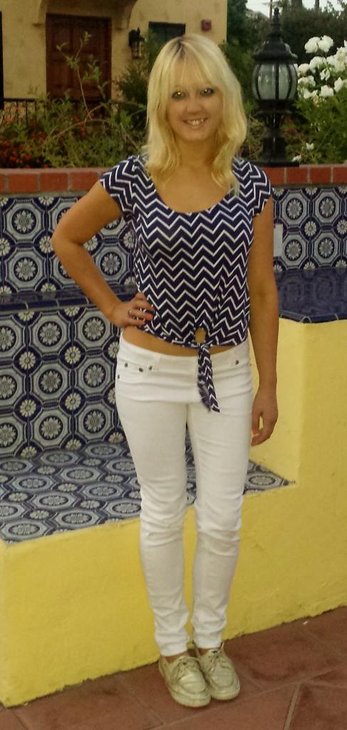 Blue nautical shirt, white pants, sperrys 2