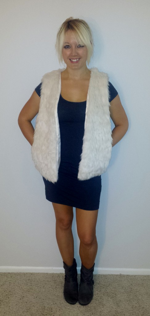 Fur Vest gray dress 1