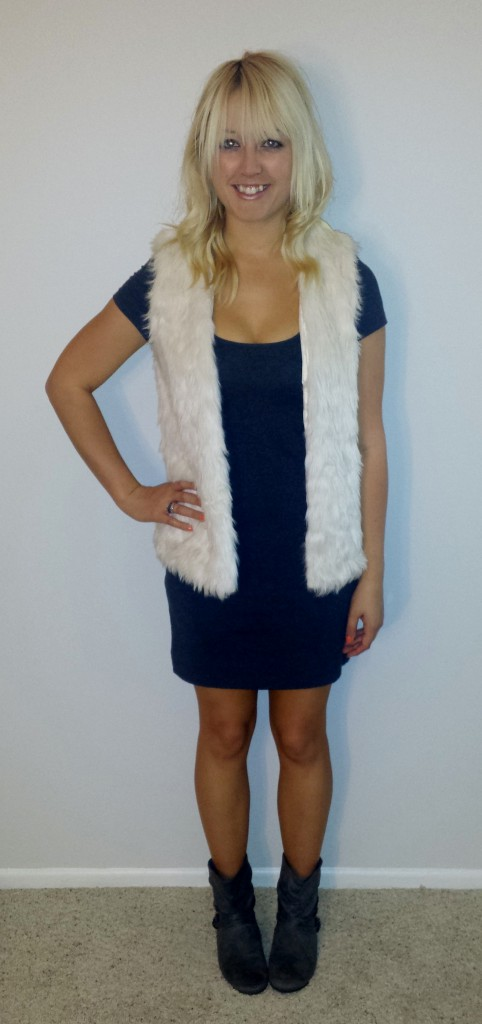 Fur vest gray dress 2