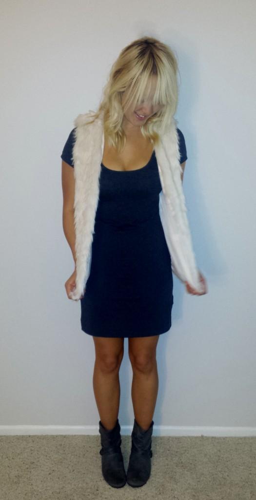 Fur vest gray dress 3