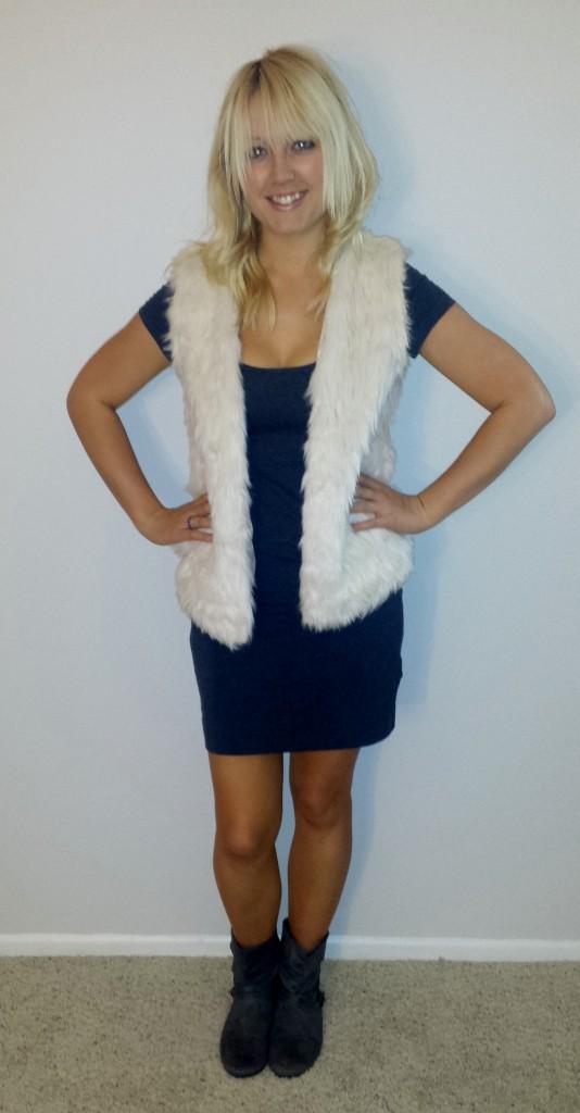 Fur vest gray dress 5
