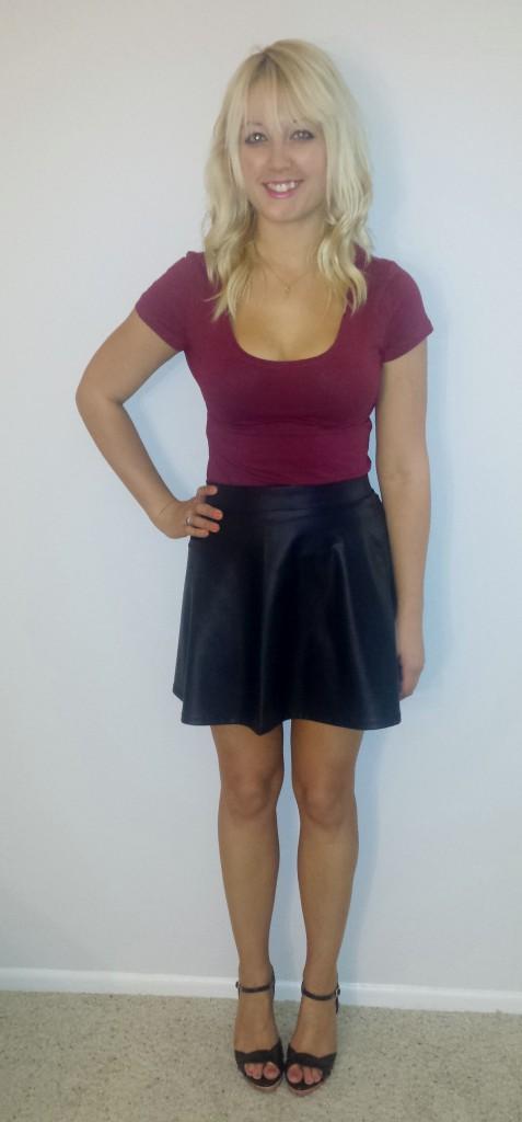 Maroon shirt black leather skirt 2