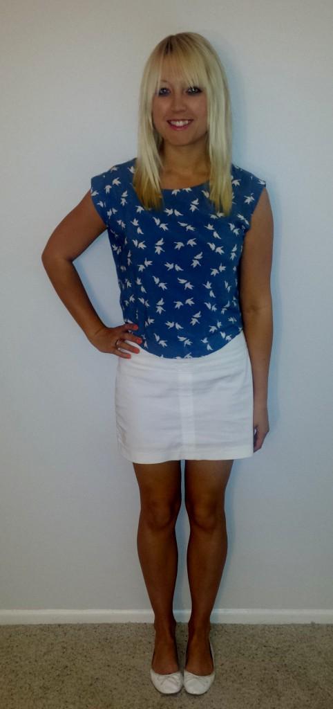 Bird shirt white skirt 1