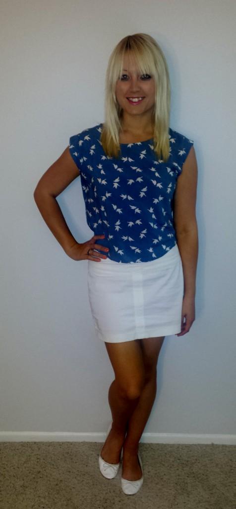 Bird shirt white skirt 2