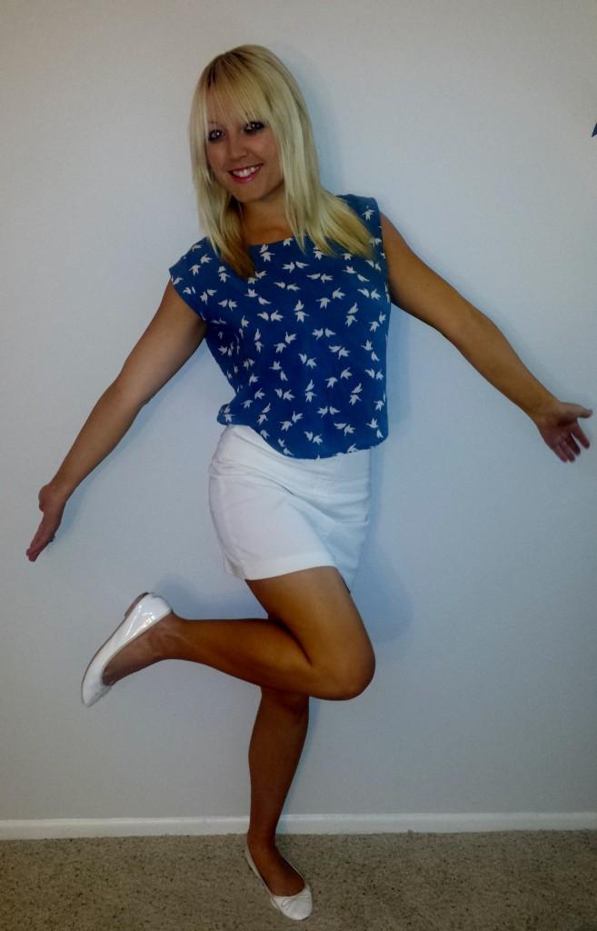Bird shirt white skirt 3