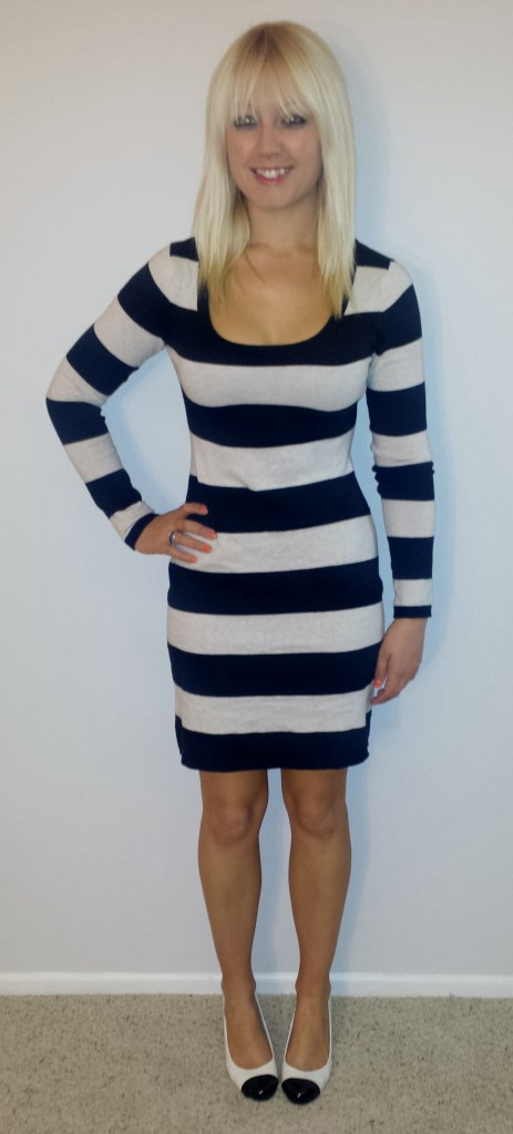 Black and white striped sweaterdress 1