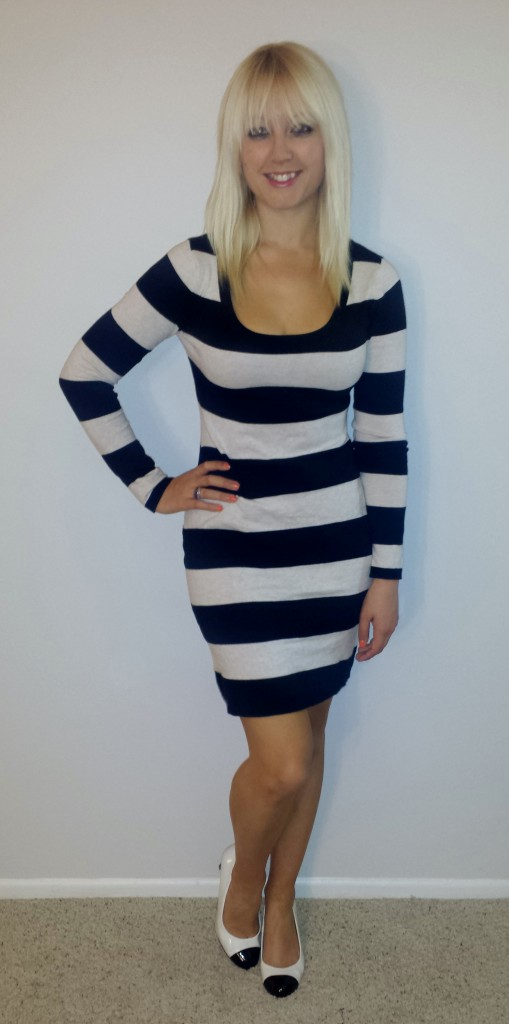 Black and white striped sweaterdress 2