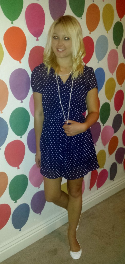 Blue polka dot dress, pearls, white flats 2