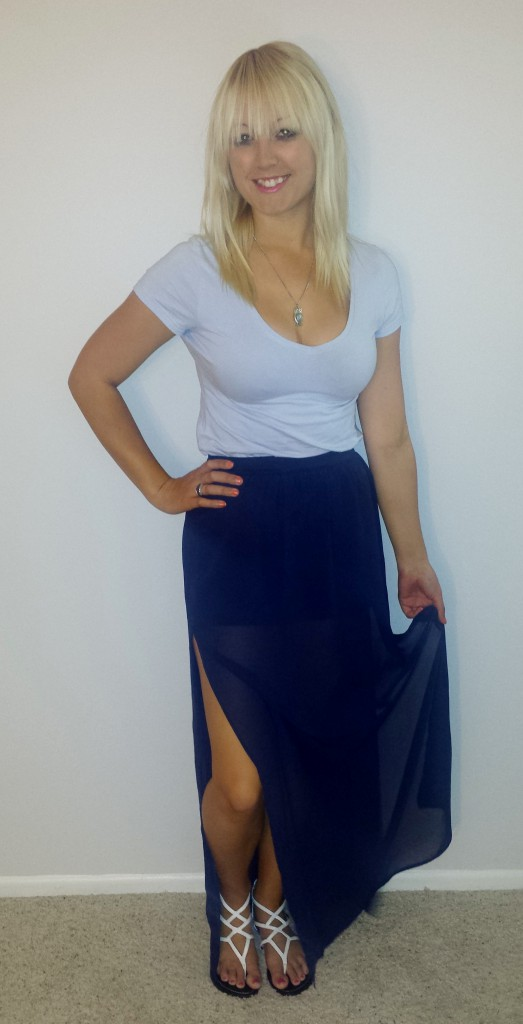 Blue shirt navy sheer skirt 1