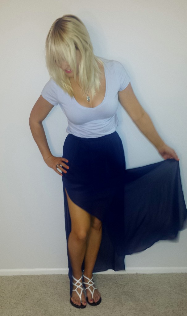 Blue shirt navy sheer skirt 2