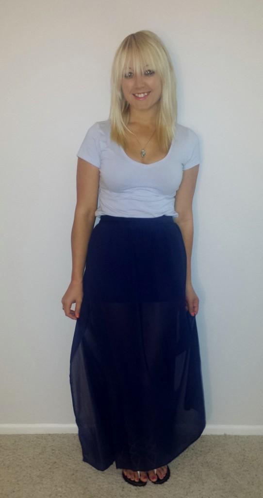 Blue shirt navy sheer skirt 3