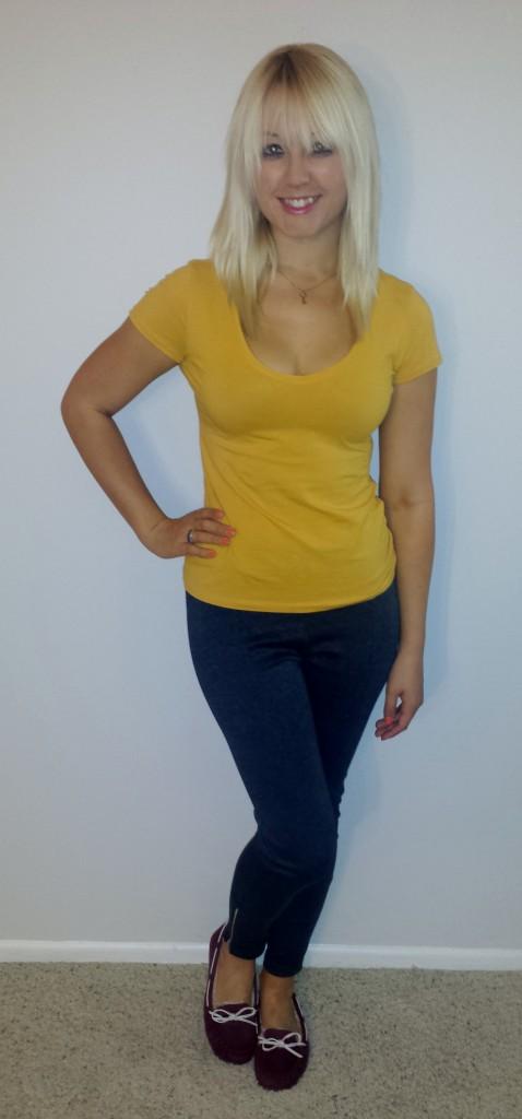 Gray pants, mustard shirt, maroon moccasins 2