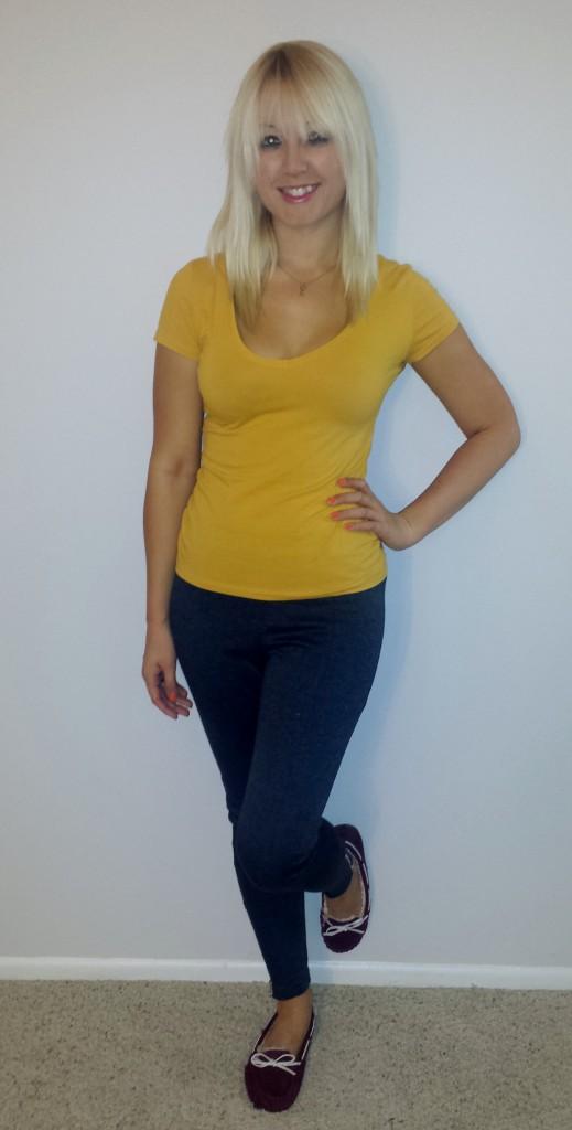 Gray pants, mustard shirt, maroon moccasins 3
