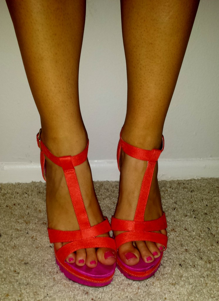 New Shoes - pink and orange wedges 2