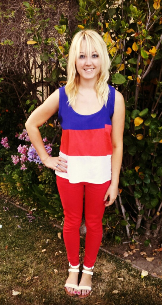 Patriotic Tank Red Pants White Sandals Hefe