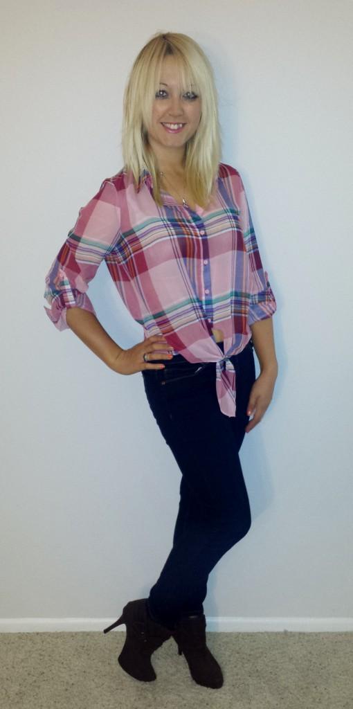 Plaid shirt, jeans, brown stiletto boots 2