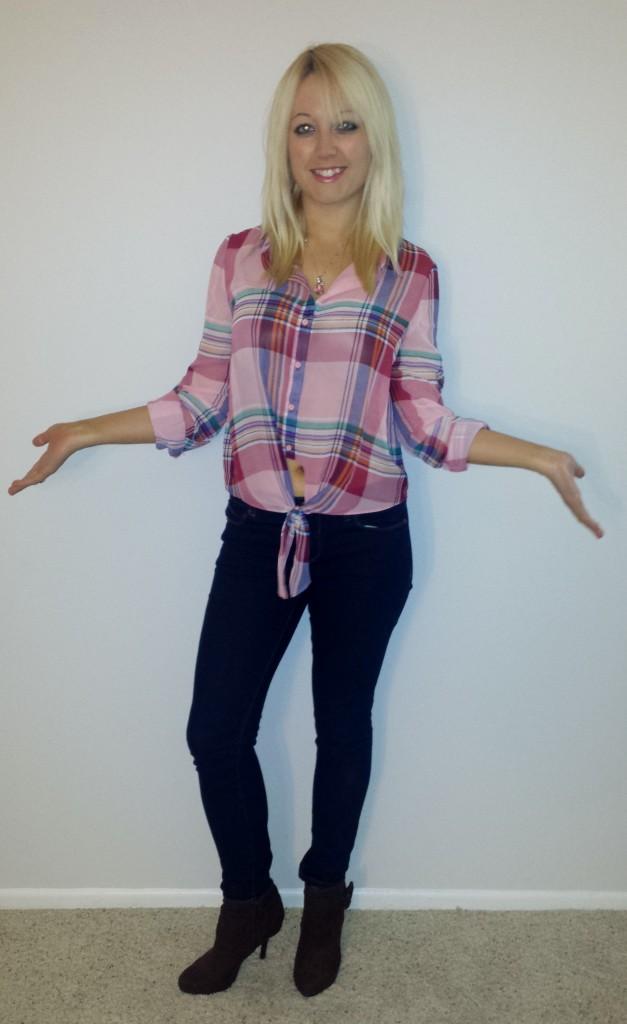 Plaid shirt, jeans, brown stiletto boots 4
