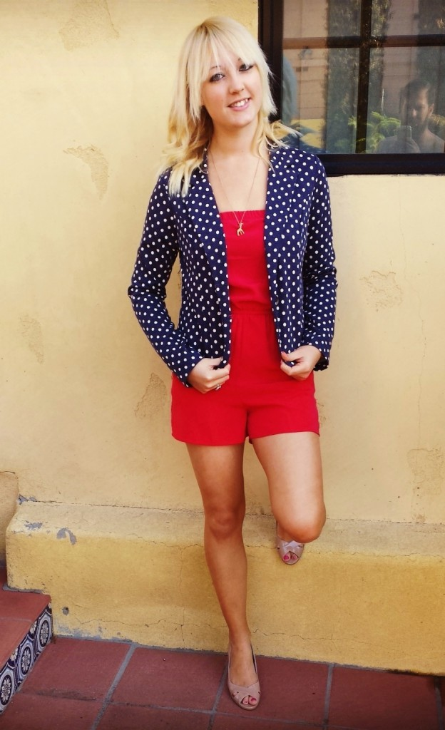 Red Romper Blue Blazer Hefe Cropped