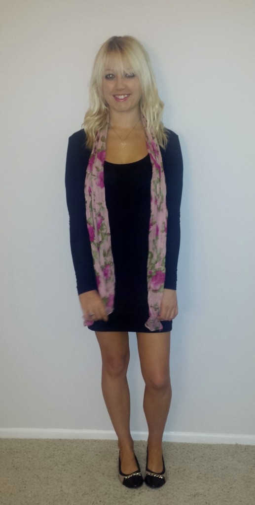 Black dress pink scarf 2