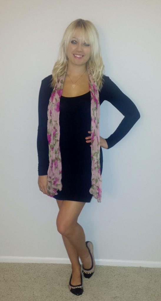 Black dress pink scarf 3