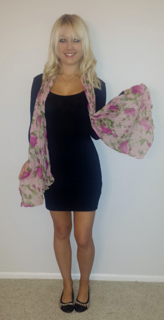 Black dress pink scarf 4