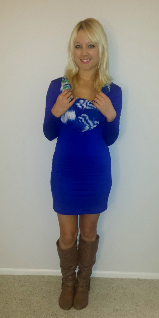 Blue long-sleeved dress 2