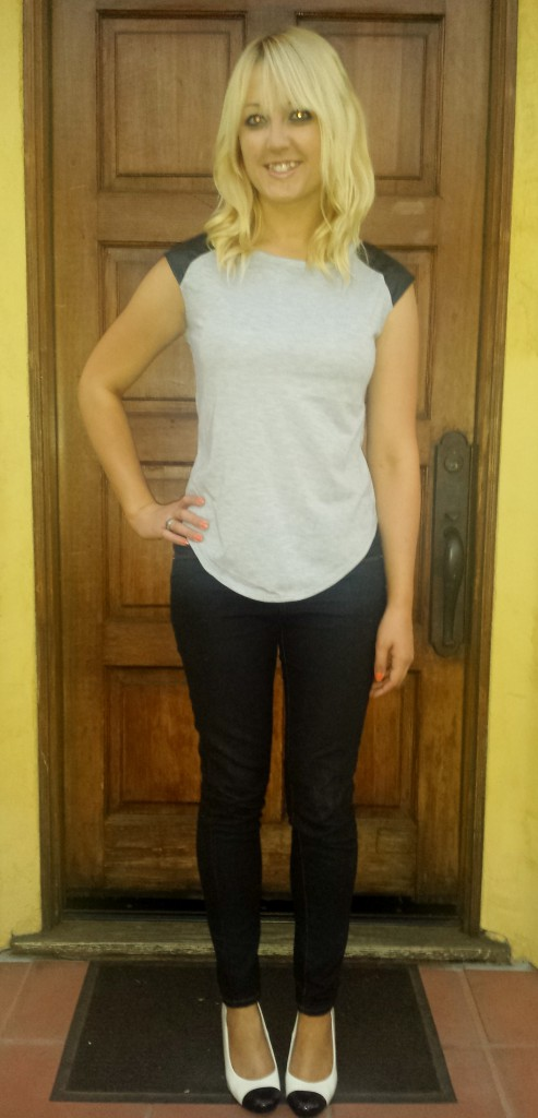 Grey and Black leather shirt, jeans, black and white heels