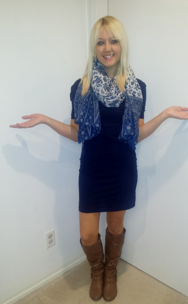 Blue Tassel Scarf 2