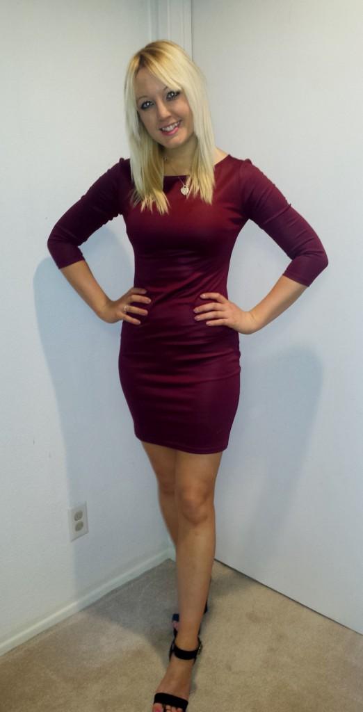 Maroon dress and heels 1