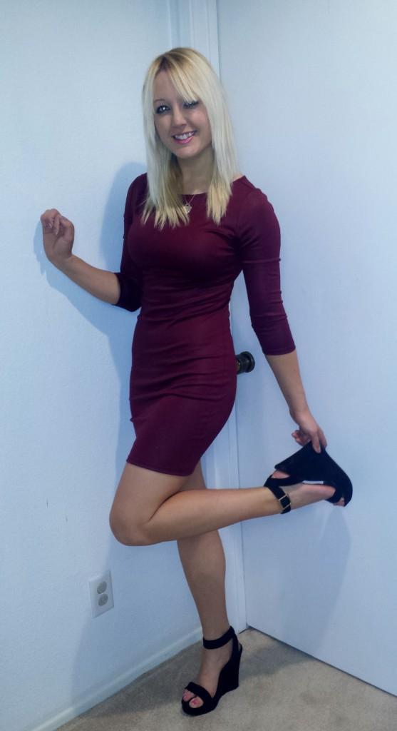 Maroon dress and heels 2
