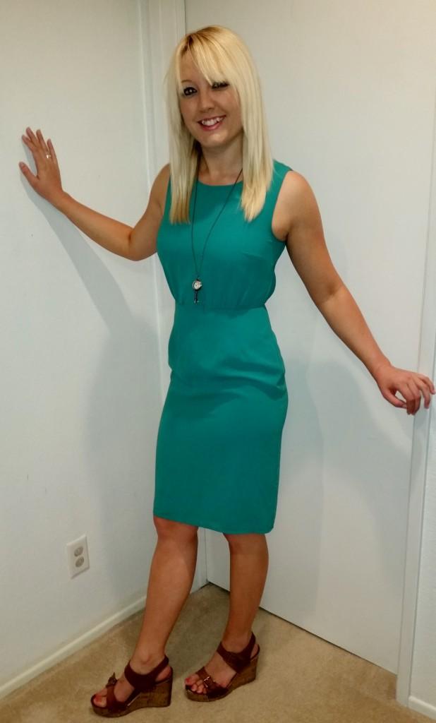 Green shift dress 1