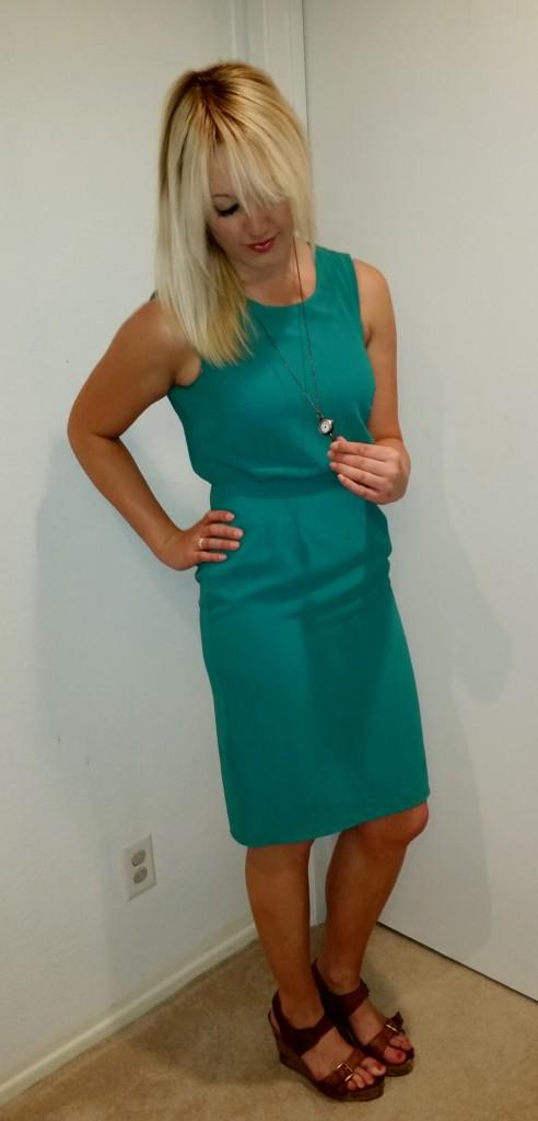 Green shift dress 3
