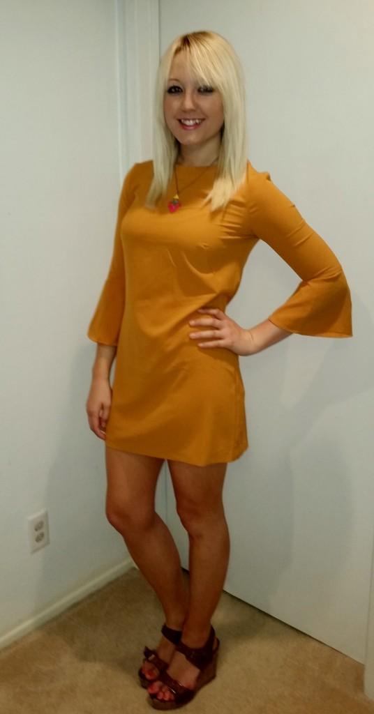 Mustard 70s dress 2