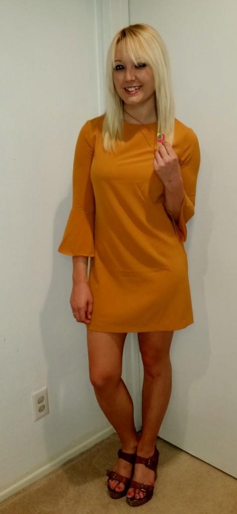 Mustard 70s dress 6