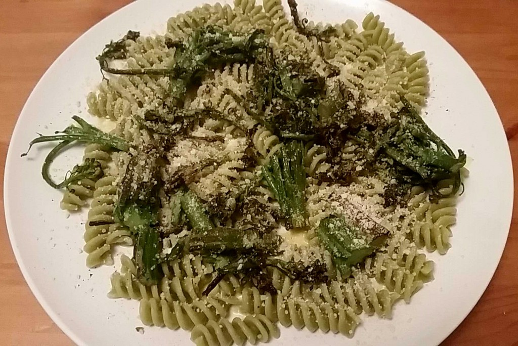A variation with asparagus and crushed Parmesan, no tomatoes