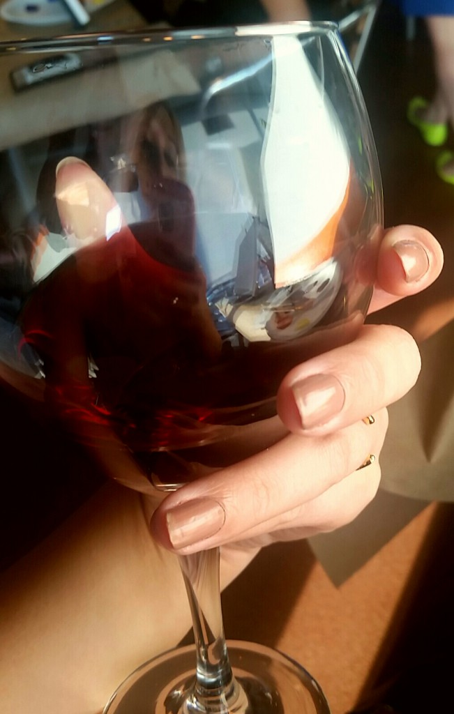 Even drinking wine in my ring!